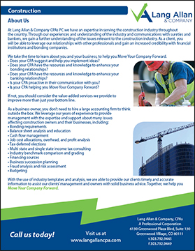 Lang Allan & Company construction brochure cover
